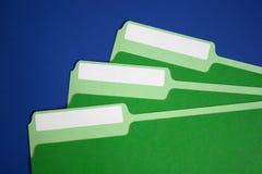 Datei-Faltblätter mit unbelegten Kennsätzen Stockfoto