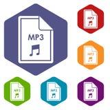 Datei MP3-Ikonen eingestellt Stockbild