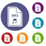 Datei MP3-Ikonen eingestellt Lizenzfreie Stockfotos