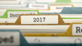 Datei-Ordner beschriftet als 2017, 3D Stockfotos