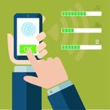 Dateidownloadknopf auf Smartphoneschirm Stockbild