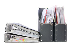Dateien in den Bürofaltblättern Stockbilder