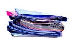 Dateiordner und Stapel des Geschäftsberichtpapierarchivs Lizenzfreie Stockfotos