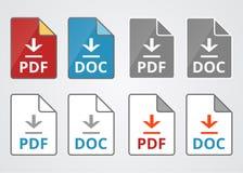 Dateipdf- und -doc.-Downloadvektorikonen eingestellt Stockbild