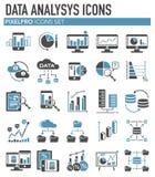 Daten analysys graue blaue Ikonen eingestellt auf weißen Hintergrund für Grafik und Webdesign, modernes einfaches Vektorzeichen H lizenzfreie abbildung