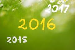 Daten 2015, die bis 2016, 2017 handgeschrieben auf wirklichem natürlichem grünem Hintergrund gehen Lizenzfreie Stockbilder