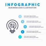 Daten, Einblick, Licht, Birnen-Linie Ikone mit Hintergrund infographics Darstellung mit 5 Schritten lizenzfreie abbildung