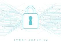 Daten, on-line--, Internetsicherheitsvektorillustration mit Vorhängeschloß und Leiterplattelinien stock abbildung