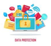Daten-Schutz-Fahne lizenzfreie abbildung