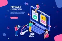 Daten-Schutz-Fahne für Website stock abbildung