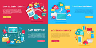 Daten-Service-Fahnen eingestellt vektor abbildung
