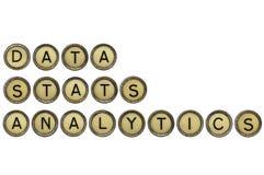 Daten, Statistik und Analytikwortzusammenfassung Lizenzfreie Stockfotos