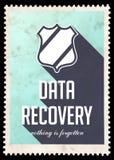 Daten-Wiederaufnahme auf Blau im flachen Design. Lizenzfreies Stockbild