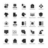 Daten-Wissenschaft Glyph Vektor-Ikonen Stockfotos