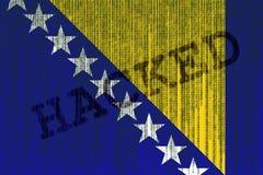 Daten zerhackte Bosnien und Herzegowina Flagge Bosnische Flagge mit binar lizenzfreie abbildung