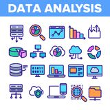Datenanalyse, Netz-Speicher-linearer Vektor-Ikonen-Satz stock abbildung