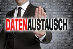 Datenaustausch in german data exchange with matrix is shown by stock photos
