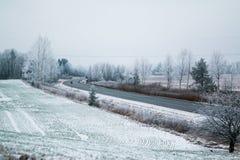 Datenbahn im Winter Lizenzfreies Stockbild