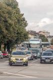 Datenbahn mit Autos Lizenzfreie Stockbilder