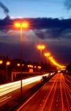 Datenbahn nachts. Stockfoto