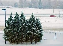 Datenbahn am schneebedeckten Tag Stockfotos