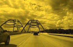 Datenbahn und Brücke Stockbild