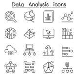 Datenbank-, Daten- u. Diagrammikone stellte in dünne Linie Art ein stock abbildung