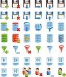 Datenbank- Detail-Ikonenset 42 Ikone `s Lizenzfreie Stockfotografie