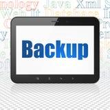 Datenbankkonzept: Tablet-Computer mit Unterstützung auf Anzeige Lizenzfreies Stockfoto