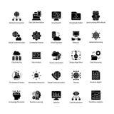 Datenerfassung Wissenschaft Glyph Vektor-Ikonen Lizenzfreie Stockfotos
