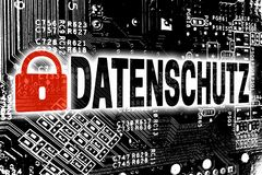 Datenschutz в немецкой политике уединения с concep монтажной платы Стоковые Фото