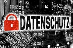 Datenschutz dans la politique de confidentialité allemande avec le concep de carte Photos stock