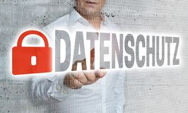 Datenschutz in german privacy policy with matrix and businessm. An concept Royalty Free Stock Image