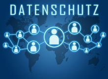 Datenschutz text concept. Datenschutz - german word for protection of data privancy - text concept on blue background with world map and social icons Stock Images