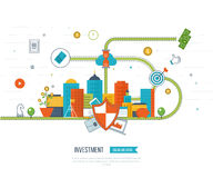 Datenschutz und sichere Arbeit Geschäftsschutz Flache Schildikone Lizenzfreies Stockfoto