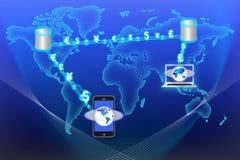 Datenstrom-Technologie-Geldumtausch Stockfotografie