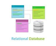 Datentabelle der relationalen Datenbasis bezog sich Symbolvektor-Illustrationskonzept stock abbildung