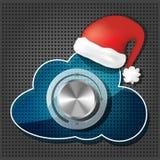 Datenträgerknopf auf Wolke mit Weihnachtsmann-Hut Stockbild