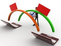 Datenumspeicherung des Mannes 3d zwischen dem Konzept mit zwei Laptops Lizenzfreie Stockbilder