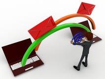 Datenumspeicherung des Mannes 3d zwischen dem Konzept mit zwei Laptops Lizenzfreie Stockfotos