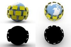Datenumspeicherung Konzept-Sammlungen der Erde 3d mit Alpha And Shadow Channel Lizenzfreie Stockfotografie