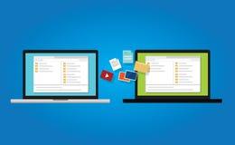 Datenumspeicherungskopien-Dokumentenunterstützung zum Laptop zwischen von der Computerikonensymbol-Illustrationssynchronisierung Lizenzfreie Stockfotografie