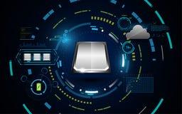 Datenverarbeitungsdaten High-Techen Systems sci FI bewölken Konzepthintergrund lizenzfreie abbildung