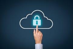 Datenverarbeitungsdatensicherheit der Wolke Stockbild