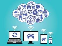 Datenverarbeitungsdatenspeicherung der Wolke Stockfoto
