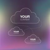 Datenverarbeitungsdesign der Wolke auf unscharfem Hintergrund für Ihren Inhalt Lizenzfreies Stockfoto