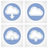 Datenverarbeitungsikone der Wolke - on-line-Lagerung Stockbilder