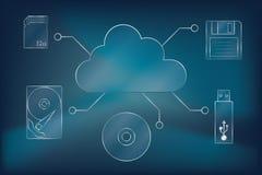 Datenverarbeitungsikonen der Wolke lizenzfreie abbildung