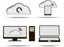 Datenverarbeitungsikonen der Wolke eingestellt Stockfoto