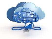 Datenverarbeitungskonzept der Wolke. Apps und usb. lizenzfreie abbildung